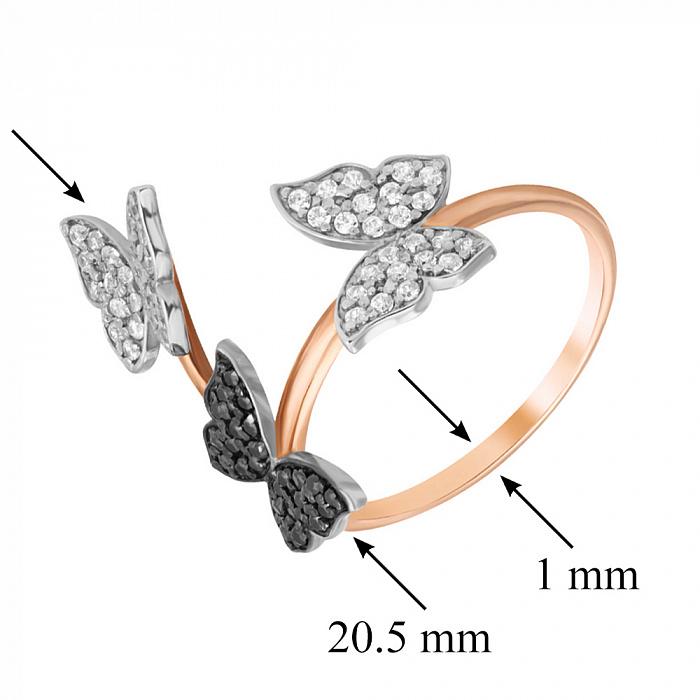 Золотое кольцо Танец бабочек в красном цвете с черными и белыми фианитами 000080781