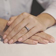 Кольцо из белого золота Эсмеральда с черными и белыми фианитами