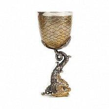 Серебряная рюмка Золотая рыбка с позолотой