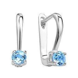 Серебряные серьги с голубым топазом 000117856