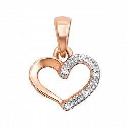 Золотой кулон Сердце в комбинированном цвете с бриллиантами