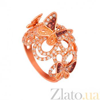 Кольцо из красного золота Лето с фианитами VLT--ТТТ1141-3