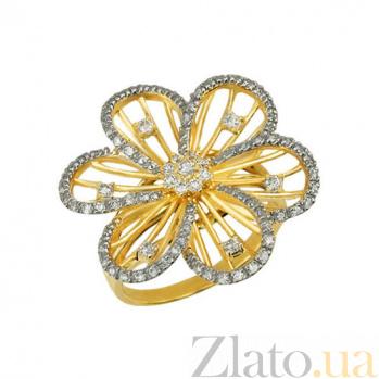 Кольцо из желтого золота Жасмин с фианитами VLT--ТТ1080