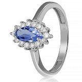 Золотое кольцо с иолитом и фианитами Пуату