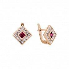 Серьги в красном золоте Клэрити с рубином и бриллиантами