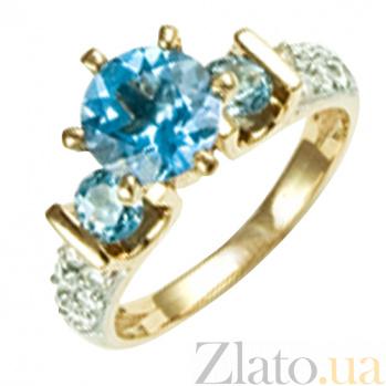 Золотое кольцо Вивид с топазами и бриллиантами 000021111