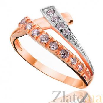 Золотое кольцо с цирконием Арфа EDM--КД031
