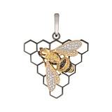Золотая подвеска Пчелка с фианитами