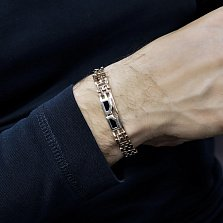 Золотой браслет Дионис с черным агатом, 10мм