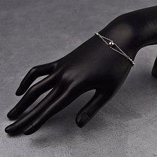 Серебряный браслет Марселина с подвеской-сердцем и гранеными бусинами