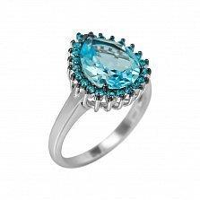 Серебряное кольцо Фелиция с топазом и голубыми фианитами