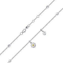 Серебряный браслет с цирконием Swarovski и эмалью 000145087