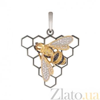 Золотая подвеска Пчелка с фианитами VLT--ТТ3481