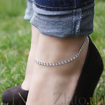 Серебряный браслет на ногу Мирена с цирконием 000044838