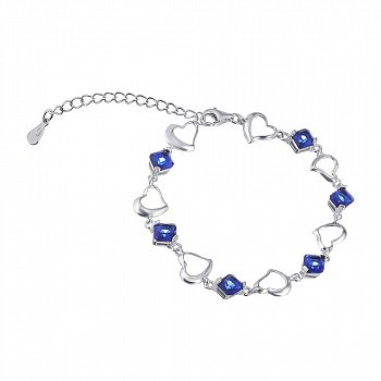Срібний браслет з синіми фіанітами 000025885