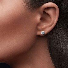 Серебряные серьги Ульяна с бриллиантами