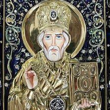 Икона Николай Чудотворец с эмалью и фианитами