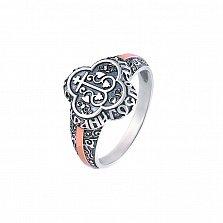 Серебряное кольцо Спасение с золотыми накладками и чернением