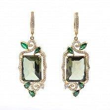 Золотые серьги-подвески Лесная царевна с зеленым кварцем и фианитами