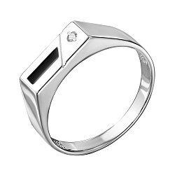 Серебряный перстень-печатка с эмалью и цирконием 000140640