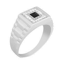 Перстень из серебра с ониксом Стиль и Статус 000033869