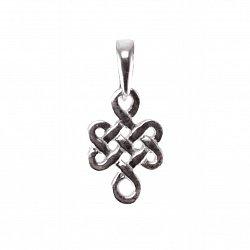 Серебряный кулон Mystic knot с чернением на шнурке с регулирующимся размером