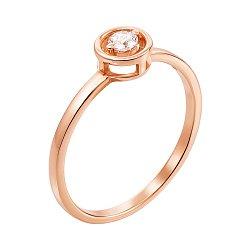 Золотое помолвочное кольцо Клио в красном цвете с фианитом