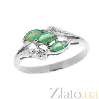 Серебряное кольцо с бриллиантами и изумрудами Марина ZMX--RDE-70016-Ag_K