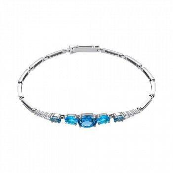 Серебряный браслет Ирида с кварцем под лондон топаз, голубым кварцем и фианитами 000063760