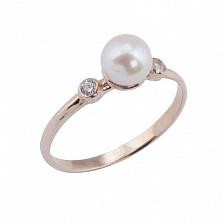 Золотое кольцо с жемчугом и фианитами Джустис