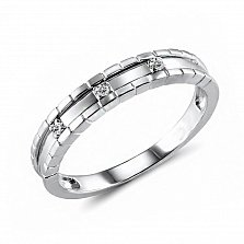 Обручальное кольцо из белого золота Искренность с бриллиантами