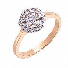 Кольцо золотое Удовольствие в комбинированном цвете с фианитами