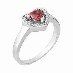 Серебряное кольцо с красным фианитом 000025498