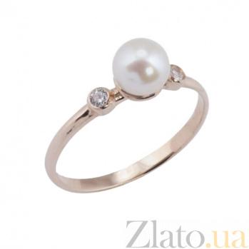Золотое кольцо с жемчугом и фианитами Джустис 000023173