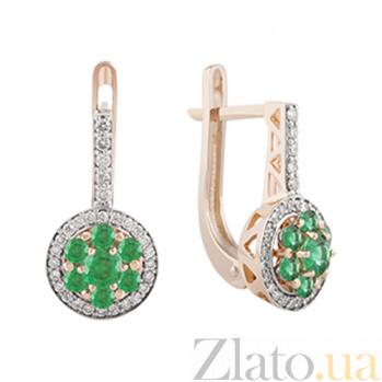 Золотые серьги с изумрудами и бриллиантами Мариз KBL--С2467/крас/изумр
