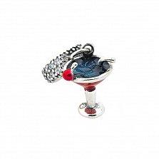 Серебряный шарм Коктейль с фианитами, красной и синей эмалью