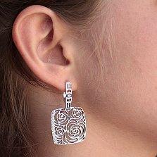 Серебряные серьги-подвески Розовый сад с белыми фианитами
