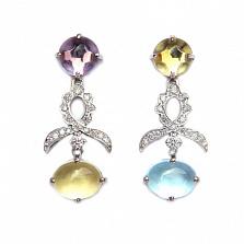 Золотые серьги с бриллиантами,лимонным кварцем, топазом и аметистом Mattioli