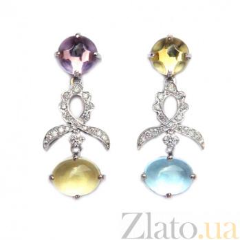 Золотые серьги с бриллиантами,лимонным кварцем, топазом и аметистом Mattioli ZMX--EDQyTAm-00494w