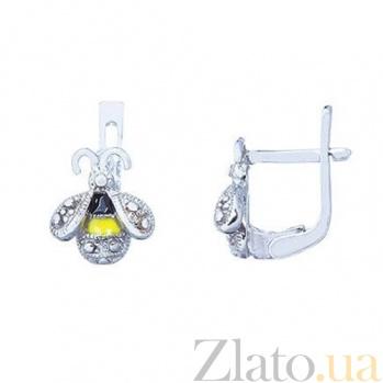 Серебряные детские серьги с эмалью Пчелка 000027003