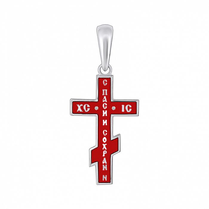 Серебряный крестик Воля на прямоугольной основе с красной эмалью и золотой накладкой 000078642