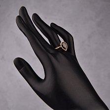 Золотое кольцо Юджиния с гранатом в стиле Бушерон