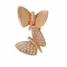 Золотой кулон с белыми сапфирами Бабочки