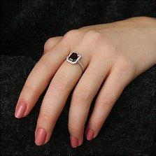 Серебряное кольцо Тенгери с гранатом и фианитами