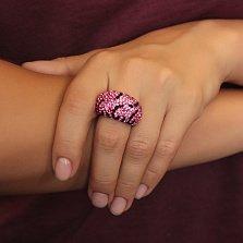 Серебряное кольцо Сафари с розовыми и черными фианитами