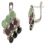 Серебряные серьги Альмира с рубином, изумрудом, сапфиром и фианитами