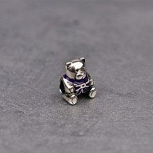 Серебряный шарм Мишка с бантом и фиолетовой эмалью в стиле Пандора