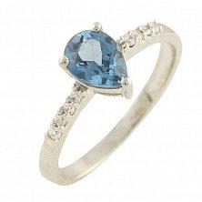 Серебряное кольцо Одилия с топазом лондон и фианитами