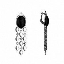 Серебряные серьги-подвески Аглая с агатом и фианитами