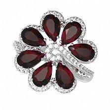 Серебряное кольцо Любава с гранатом и фианитами